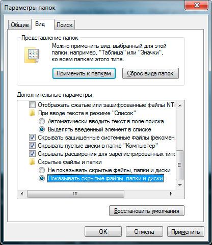 показать скрытые файлы, папки и диски windows 7