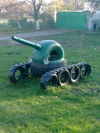 танк из покрышек