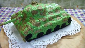 как сделать танк из торта